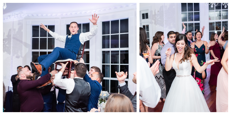 Chair Dance Groom & Bride Dancing at Reception | Blue & White Wedding Luxmore Grand Estate Anna Christine Events