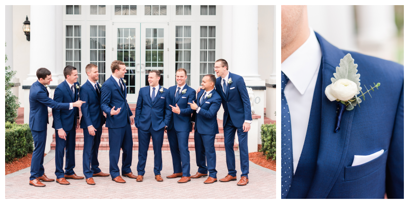 Groom & Groomsmen Boutonniere Groom & Groomsmen Suits Men's Warehouse Orlando Flower Market | Blue & White Wedding Luxmore Grand Estate Anna Christine Events