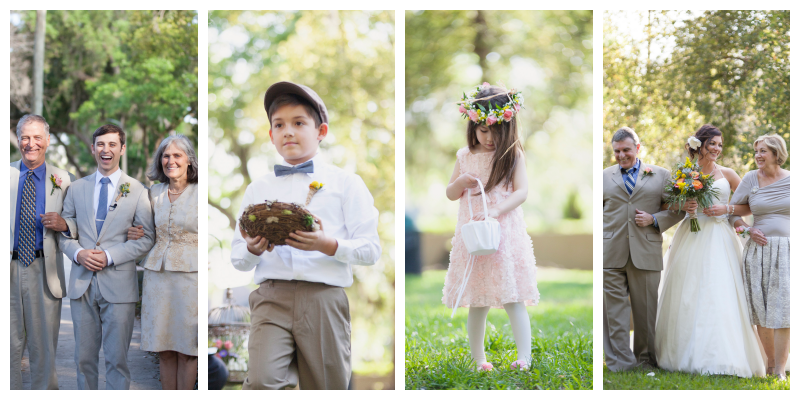 Bride & Groom Entering with Parents Flower Girl Flower Crown Head Basket Ring Bearer Bird's Nest | Outdoor Wedding Park Venue Farmer's Market Anna Christine