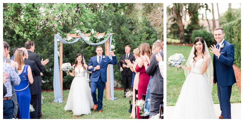 Fun Bride & Groom Outdoor Ceremony Archway Rings Bouquet Just Married | Blue & White Wedding Luxmore Grand Estate Anna Christine Events