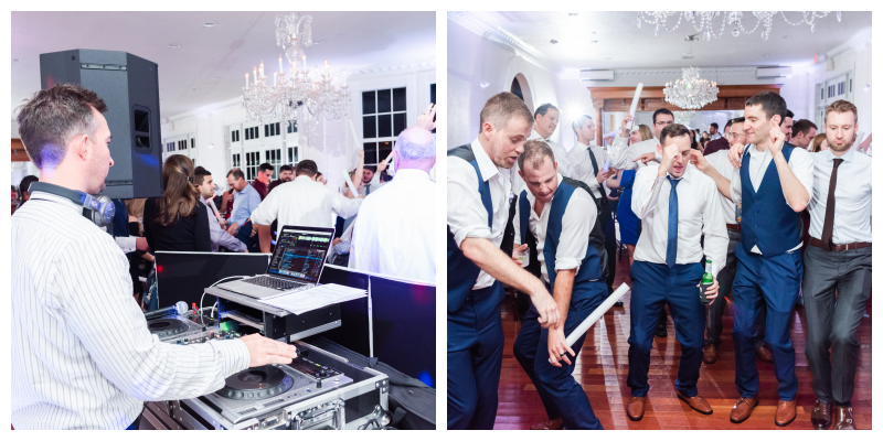 DJ Booth Dancing at Reception Party | Blue & White Wedding Luxmore Grand Estate Anna Christine Events