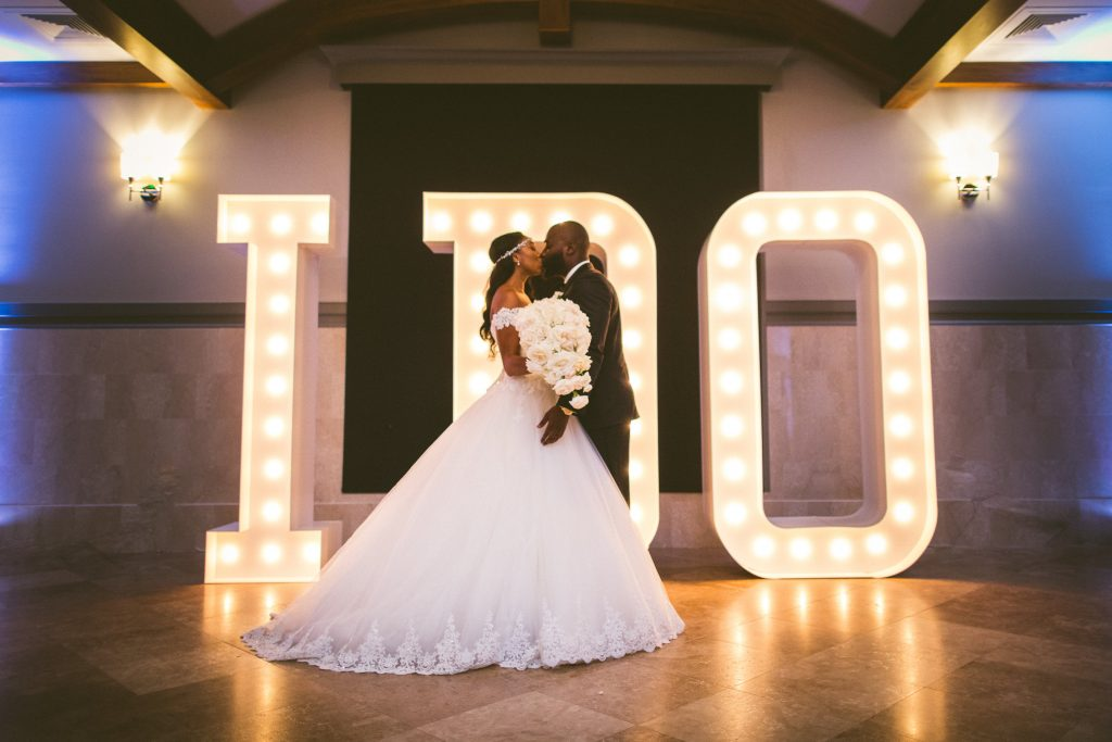 "Custom ""I Do"" Light Structures Bride & Groom 