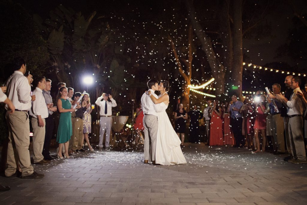 Poppers Confetti Outside Goodbye Finale | Outdoor Wedding Park Venue Farmer's Market Bride & Groom