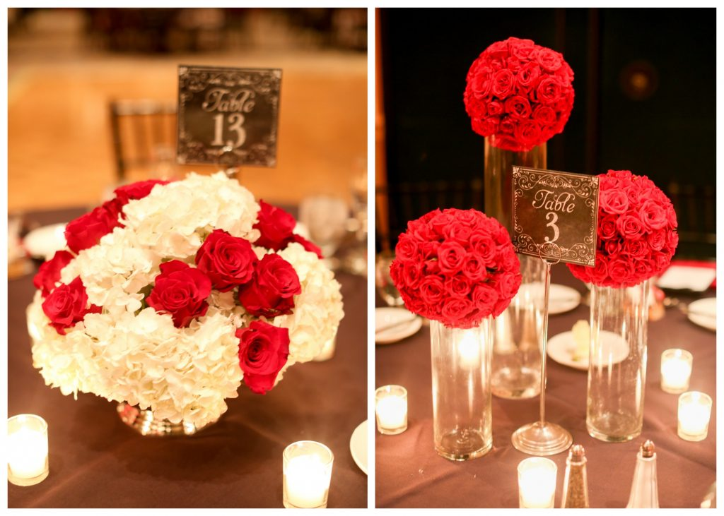Red Floral Arrangements Centerpieces Tables | Red & Black Wedding Classic Romantic Dark Mission Inn Resort Anna Christine Events Wings of Glory Photography