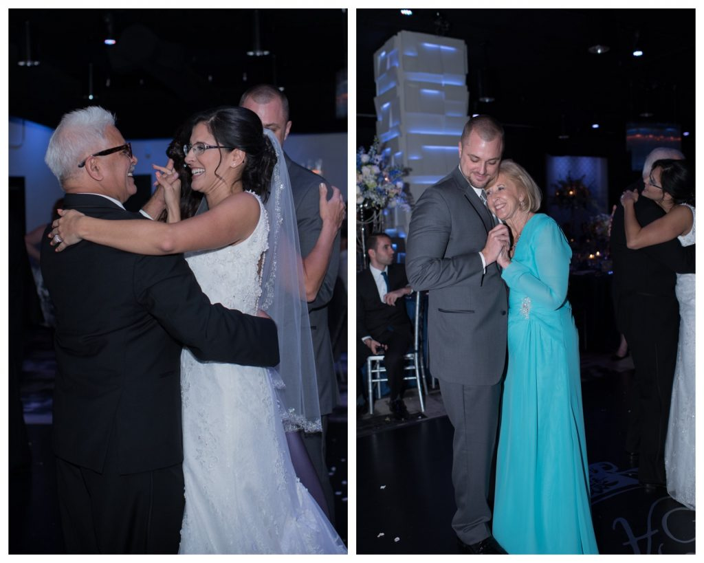 Parent Dances Mother Son Father Daughter | Blue & White Glamorous Wedding The Abbey The Mezz Anna Christine Events Kathy Thomas Photography