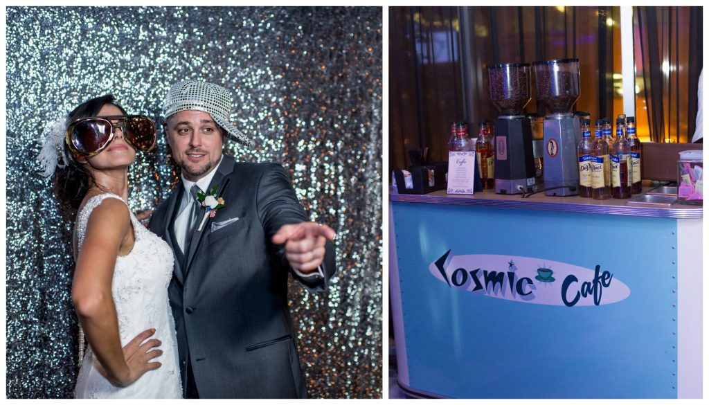 Click! Photo Booth Bride & Groom Reception Cosmic Cafe Coffee | Blue & White Glamorous Wedding The Abbey The Mezz Anna Christine Events Kathy Thomas Photography