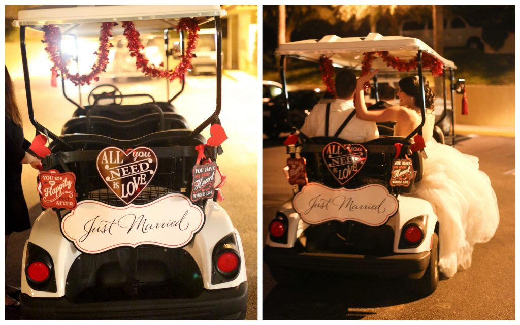 Just Married Golf Cart Exit | Red & Black Wedding Classic Romantic Dark Mission Inn Resort Anna Christine Events Wings of Glory Photography