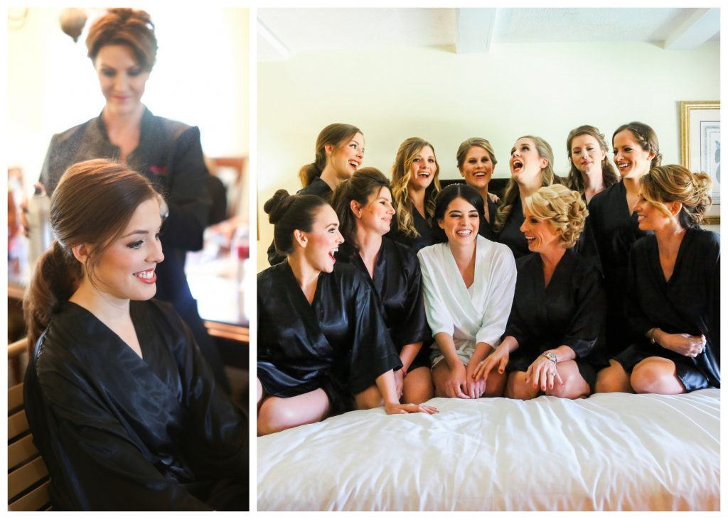 Getting Ready Girls Face Design Team Bride Bridesmaids | Red & Black Wedding Classic Romantic Dark Mission Inn Resort Anna Christine Events Wings of Glory Photography