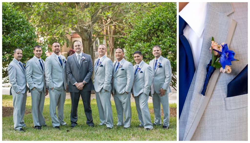 Guys Groomsmen Groom Boutonniere | Blue & White Glamorous Wedding The Abbey The Mezz Anna Christine Events