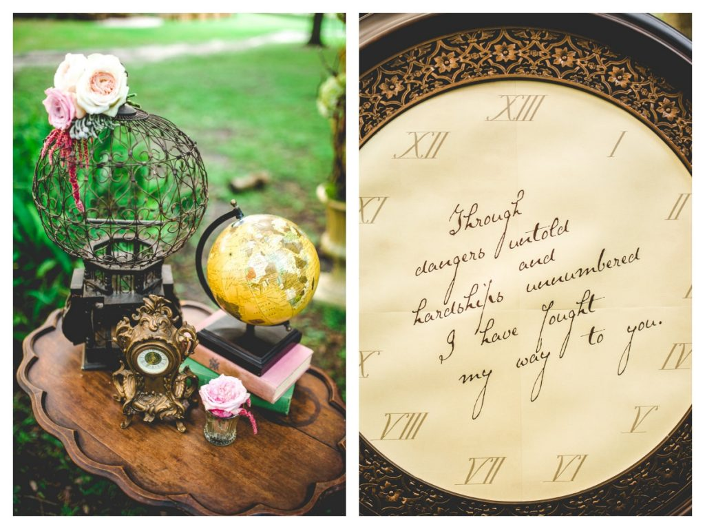 Outside Photo Shoot Outdoor Globe Quote | Labryinth Inspired Whimsical Wedding David Bowie Ballroom Scene Gold White Pink Brown Anna Christine Events