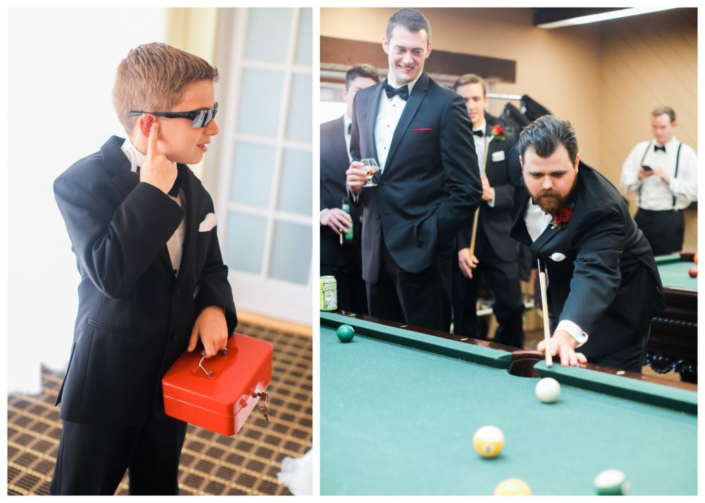 Ring Bearer Secret Agent Pool Hall Groomsmen Groom Getting Ready | Red & Black Wedding Classic Romantic Dark Mission Inn Resort Anna Christine Events Wings of Glory Photography