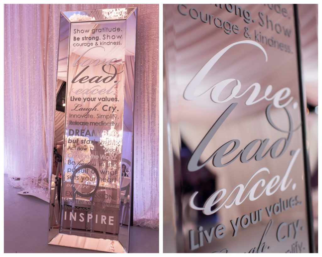 Mirror with Words Love Lead Excel | Our DJ Rocks 5 Year Anniversary Party Heaven Event Center Anna Christine Events