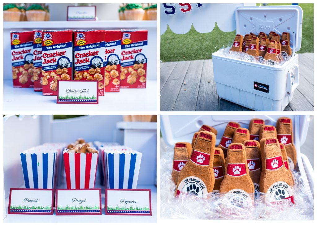 Baseball Snacks Peanuts Pretzels Popcorn Cracker Jacks Dog Favors Puppy Chew Toys | Carter the Corgi Birthday Party Baseball Theme Orlando Canine Country Club Anna Christine Events Cute