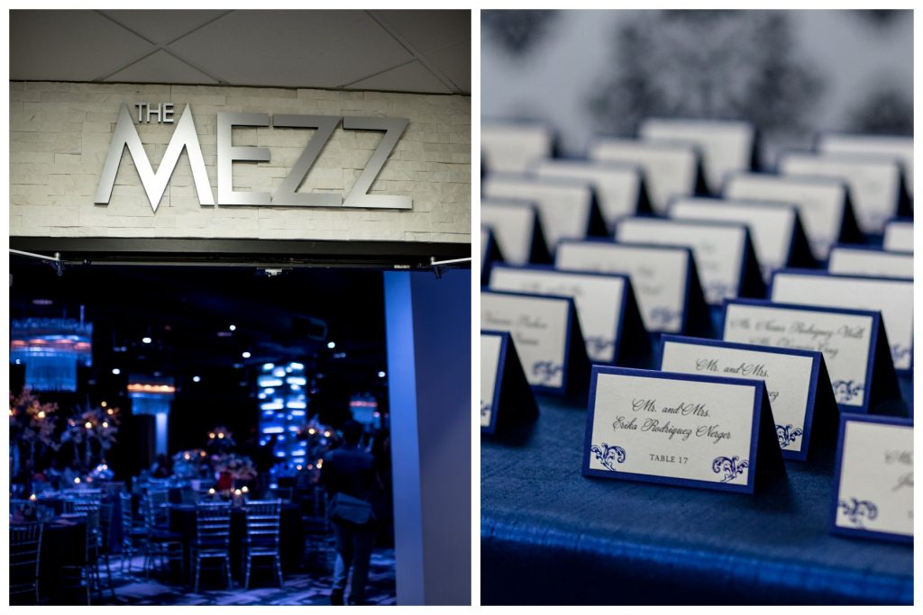 Table Assignment Cards The Mezz Sign Entrance | Blue & White Glamorous Wedding The Abbey The Mezz Anna Christine Events