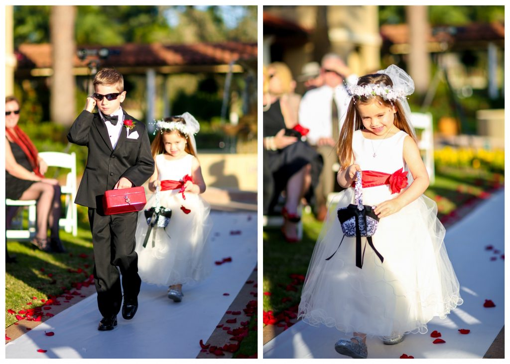 Secret Agent FBI Ring Bearer Flower Girl | Red & Black Wedding Classic Romantic Dark Mission Inn Resort Anna Christine Events Wings of Glory Photography