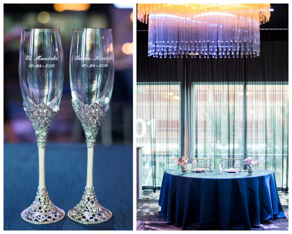 Personalized Champagne Glasses Names Bride & Groom Sweetheart Table | Blue & White Glamorous Wedding The Abbey The Mezz Anna Christine Events Kathy Thomas Photography