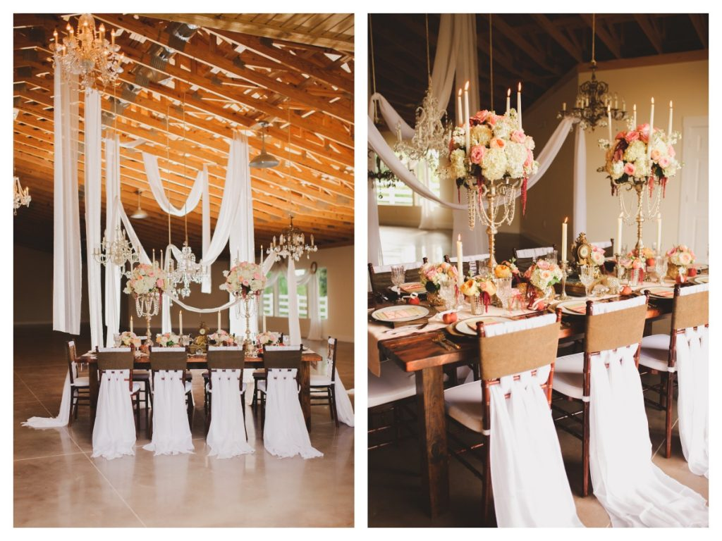 Room Table Barn Decor Chairs A Chair Affair Mahogany | Venue Barn Up the Creek Farms | Labryinth Inspired Whimsical Wedding David Bowie Ballroom Scene Gold White Pink Brown Anna Christine Events