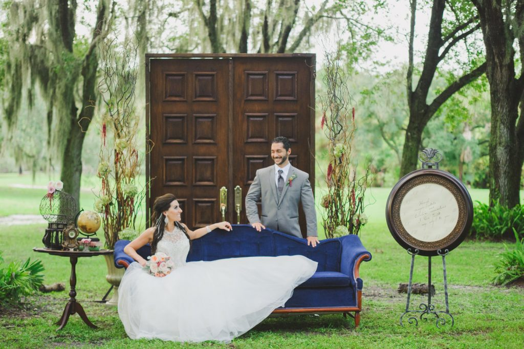 Outside Photo Shoot Couch Doors Outdoor Globe Quote | Labryinth Inspired Whimsical Wedding David Bowie Ballroom Scene Gold White Pink Brown Anna Christine Events