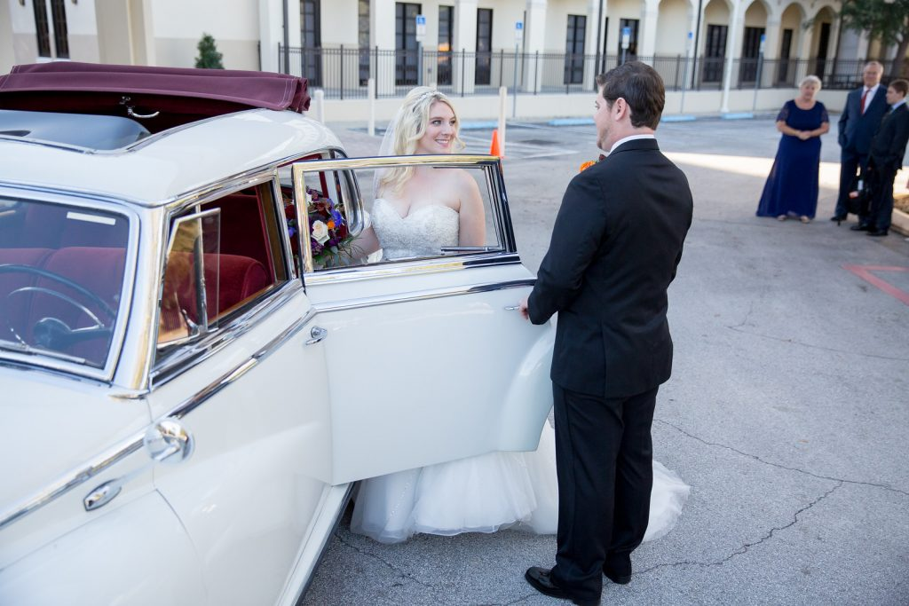 Bride & Groom Classic Car Dave | Classic Purple & Orange Wedding Football Texas Longhorns Sports Lake Lucerne Courtyard Anna Christine Events Orlando Kathy Thomas Photography