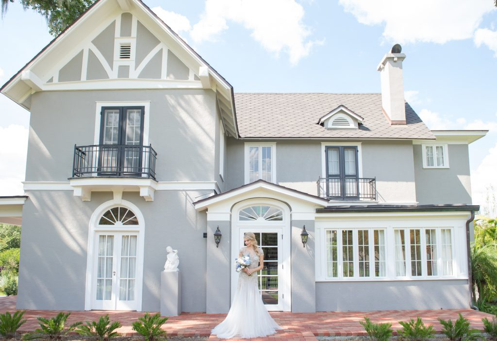Bride Outside Venue | Wedding Photo Shoot Historic Estate Capen Showalter House Serenity Rose Quartz Florida Anna Christine Events