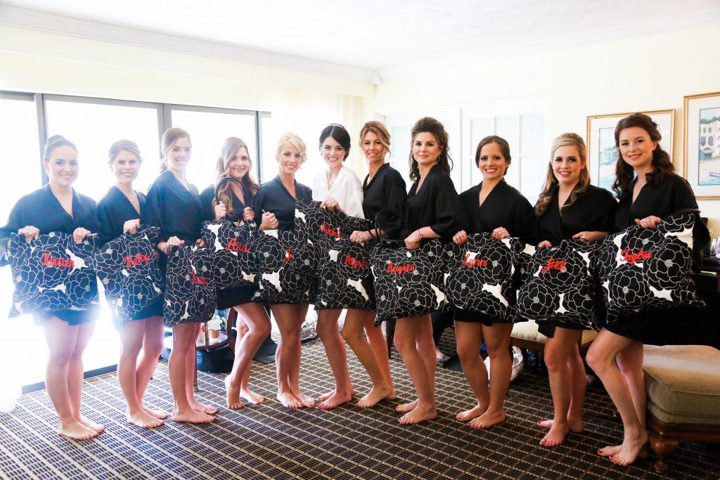 Bride Bridesmaids Getting Ready Gifts Bags | Red & Black Wedding Classic Romantic Dark Mission Inn Resort Anna Christine Events Wings of Glory Photography