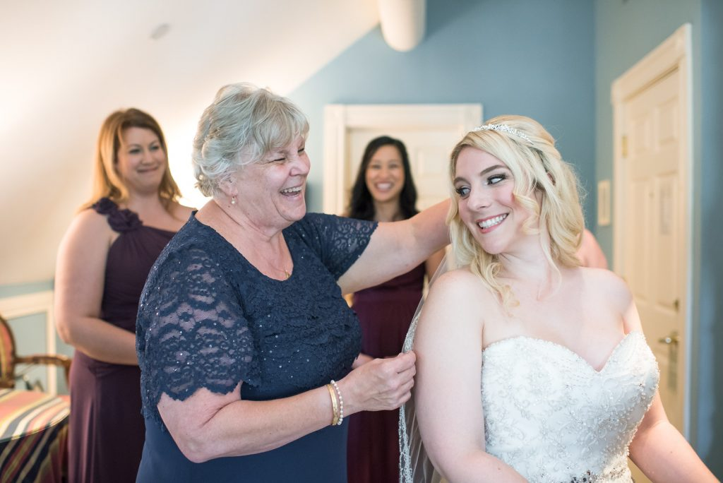 Bride Getting Ready Veil | Classic Purple & Orange Wedding Football Texas Longhorns Sports Lake Lucerne Courtyard Anna Christine Events Orlando Kathy Thomas Photography