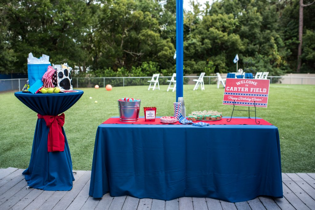 Welcome Table Gifts Baseballs Dogs Doggie Bags | Carter the Corgi Birthday Party Baseball Theme Orlando Canine Country Club Anna Christine Events Cute