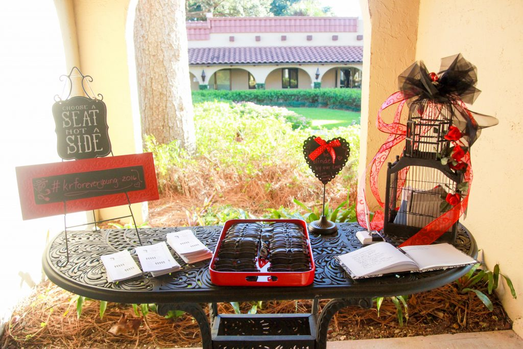 Sunglasses Guest Book Programs Ceremony | Red & Black Wedding Classic Romantic Dark Mission Inn Resort Anna Christine Events Wings of Glory Photography