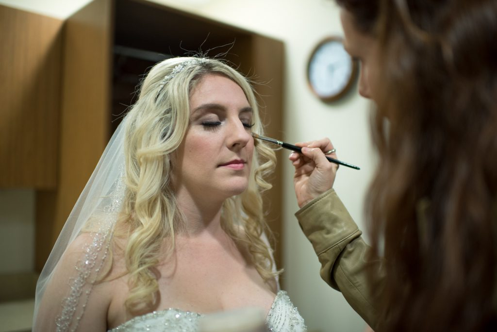 Hair & Makeup Bride Allie Workman & Jess Hasara | Classic Purple & Orange Wedding Football Texas Longhorns Sports Lake Lucerne Courtyard Anna Christine Events Orlando Kathy Thomas Photography