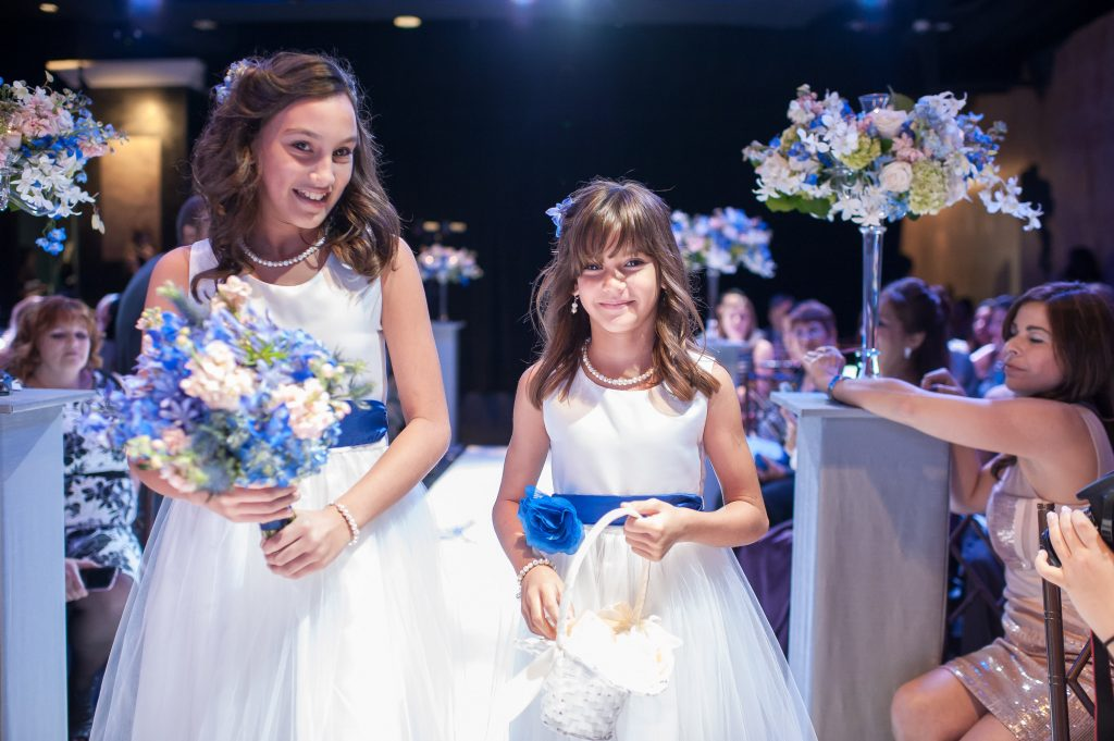 Flower Girls Ceremony | Blue & White Glamorous Wedding The Abbey The Mezz Anna Christine Events