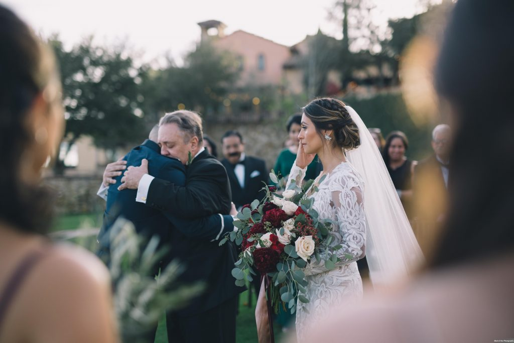 Bella Collina Outdoor Ceremony Bride Bouquet Aisle Father | Boho Chic Rustic Nature Bella Collina Wedding Anna Christine Events Black & Hue Photography