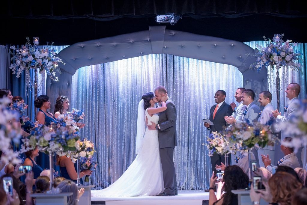 Bride & Groom Ceremony Kiss | Blue & White Glamorous Wedding The Abbey The Mezz Anna Christine Events