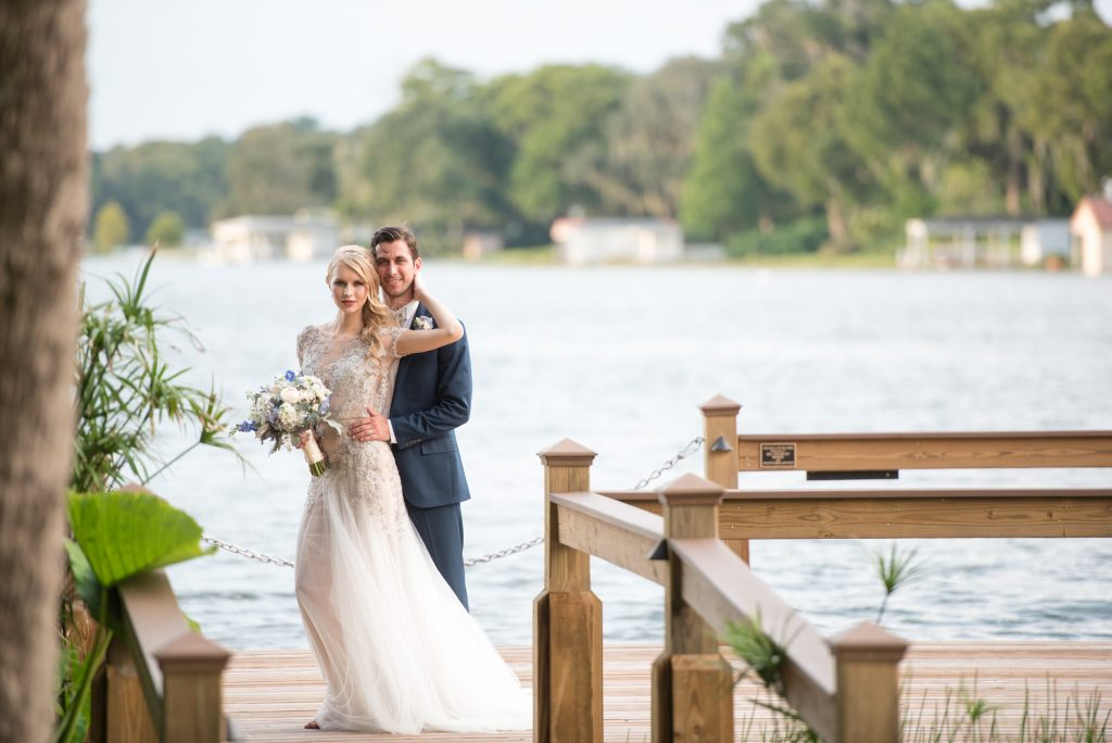 Couple Dock Bride & Groom | Wedding Photo Shoot Historic Estate Capen Showalter House Serenity Rose Quartz Florida Anna Christine Events