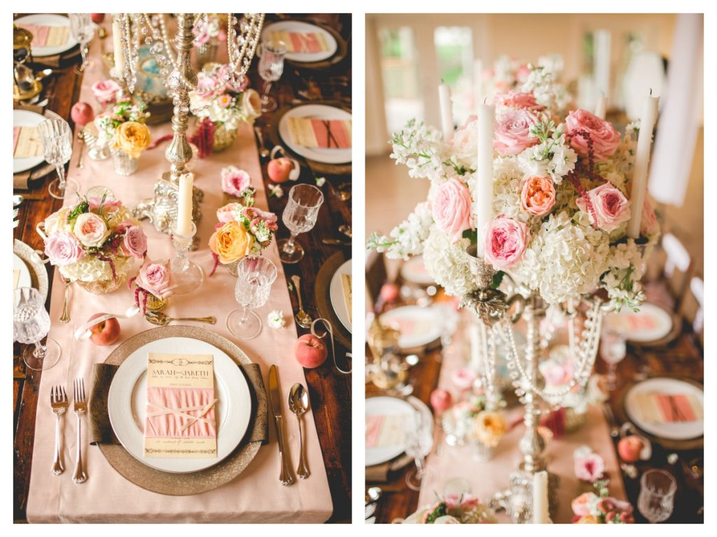 Florals Flowers by Lesley Table Setting A Chair Affair | Cake Desserts Glitter Popcorn French Horns | Labryinth Inspired Whimsical Wedding David Bowie Ballroom Scene Gold White Pink Brown Anna Christine Events