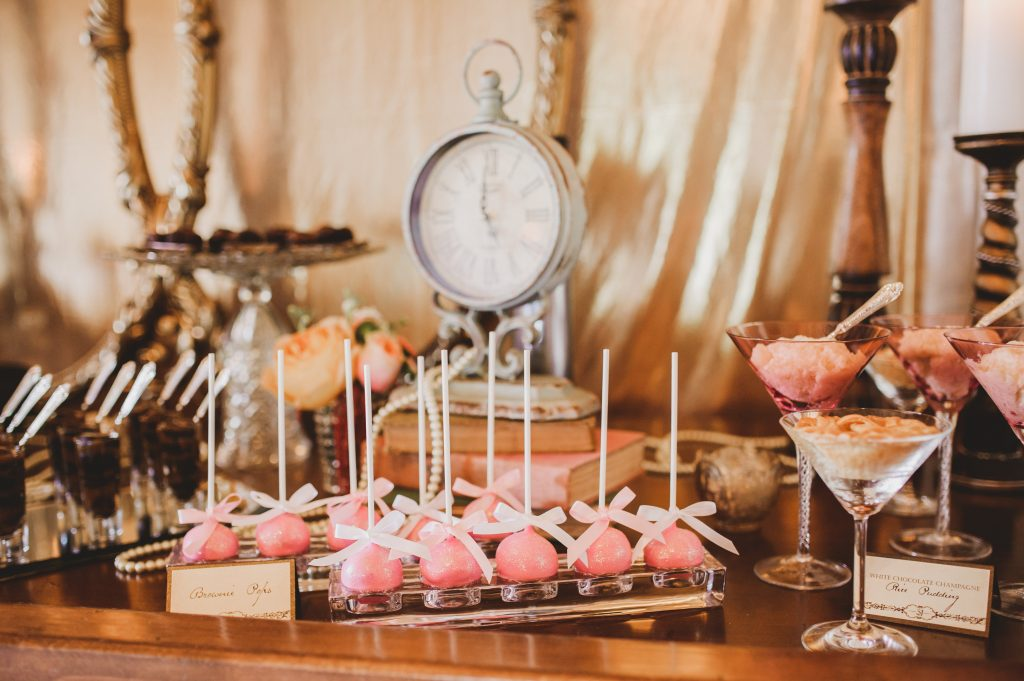 Brownie Pops Two Sweets | Labryinth Inspired Whimsical Wedding David Bowie Ballroom Scene Gold White Pink Brown Anna Christine Events