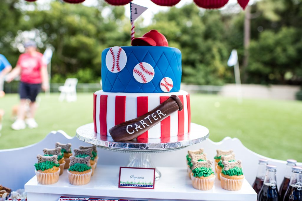 Cut the Cake Dog-Friendly Pupcakes Cupcakes Baseball Bat Hat | Carter the Corgi Birthday Party Baseball Theme Orlando Canine Country Club Anna Christine Events Cute