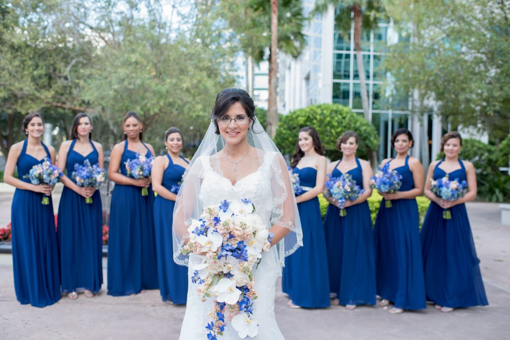 Bride Bridesmaids Girls Ladies Bouquet Raining Roses | Blue & White Glamorous Wedding The Abbey The Mezz Anna Christine Events