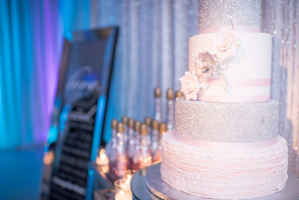 Cake Cut the Cake Sparkly Rose | Our DJ Rocks 5 Year Anniversary Party Heaven Event Center Anna Christine Events