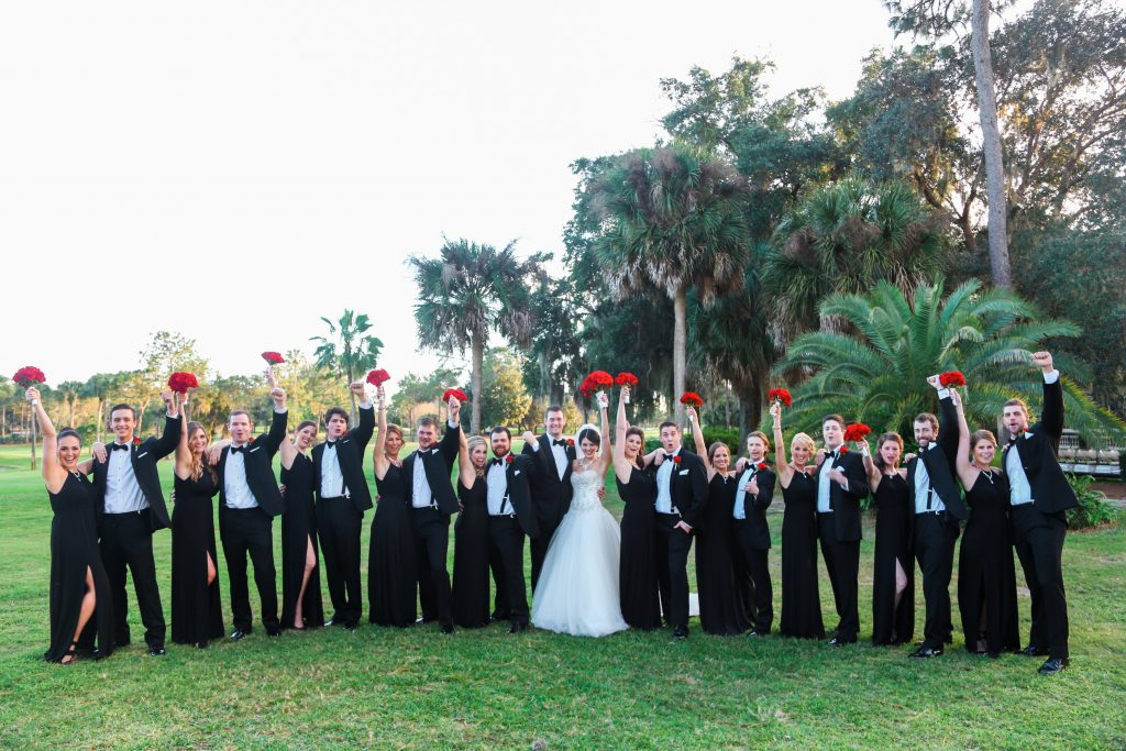Wedding Party Excited Picture Bouquets Red Roses Lee Forrest Design | Red & Black Wedding Classic Romantic Dark Mission Inn Resort Anna Christine Events Wings of Glory Photography
