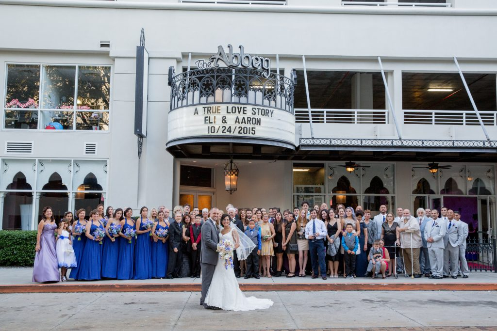 Ceremony Group Photo Family Wedding Party | Blue & White Glamorous Wedding The Abbey The Mezz Anna Christine Events