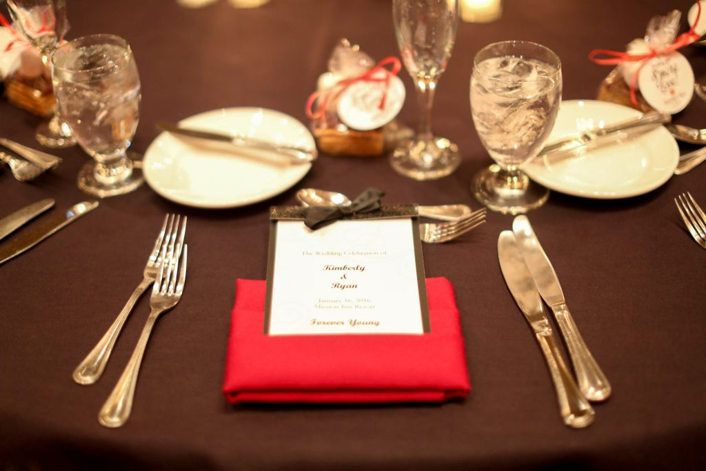 Table Setting Red Roses Reception | Red & Black Wedding Classic Romantic Dark Mission Inn Resort Anna Christine Events Wings of Glory Photography