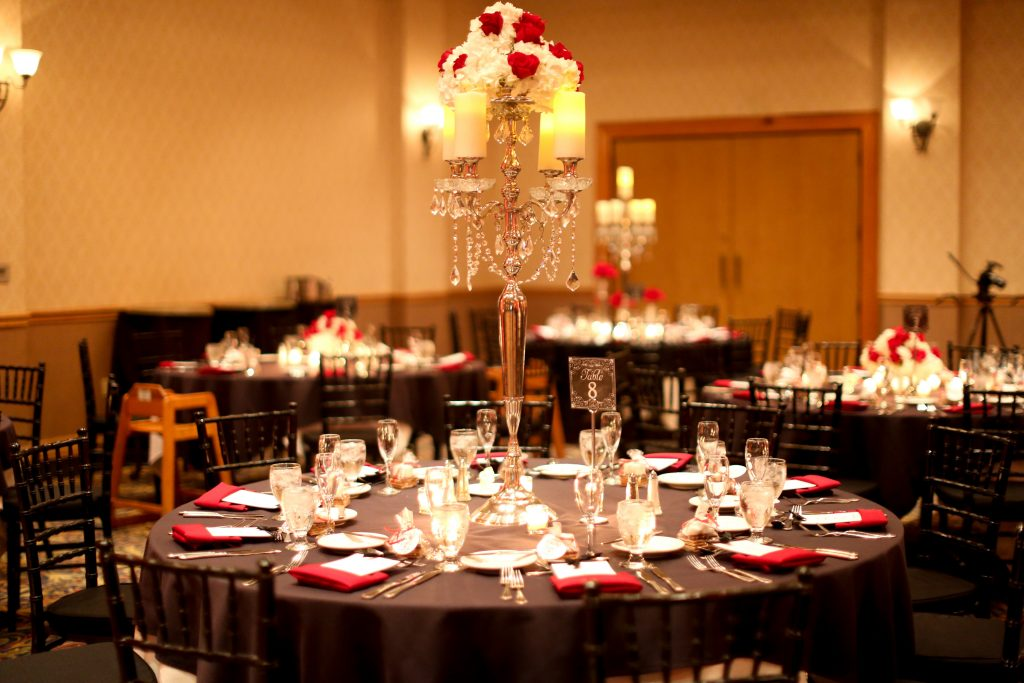 Table Setting Candelabra Vase Red Roses | Red & Black Wedding Classic Romantic Dark Mission Inn Resort Anna Christine Events Wings of Glory Photography