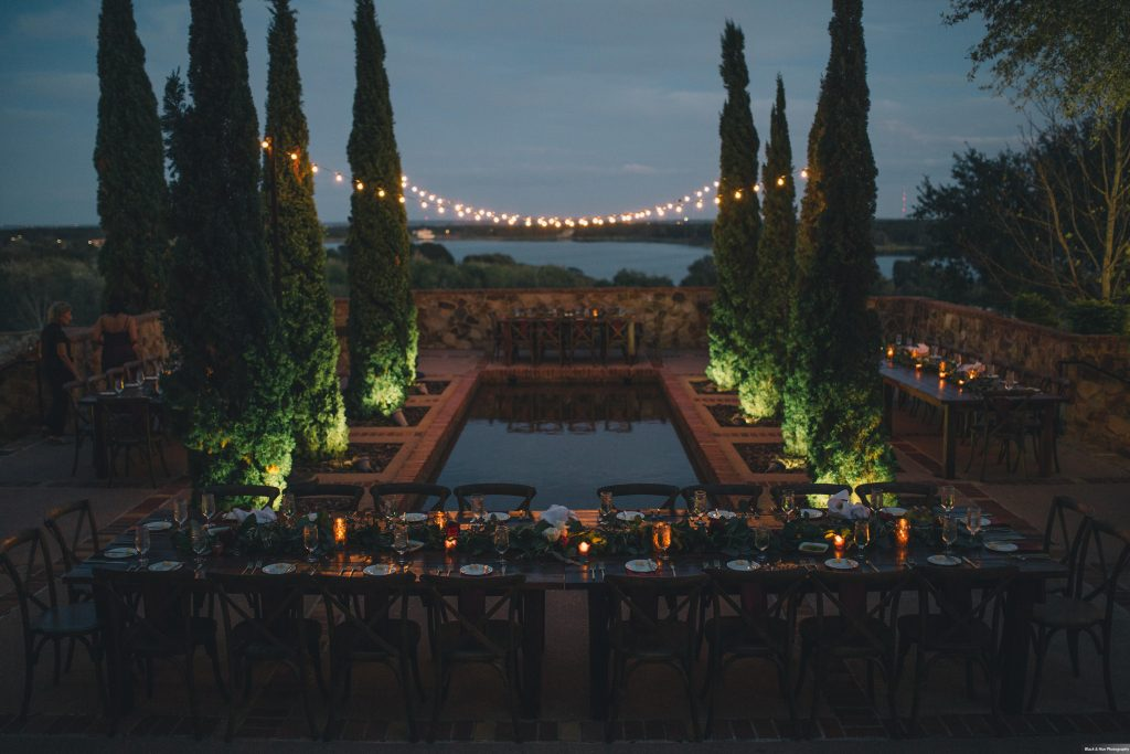 Bella Collina Outdoor Courtyard Reception Market Lights | Boho Chic Rustic Nature Bella Collina Wedding Anna Christine Events Black & Hue Photography