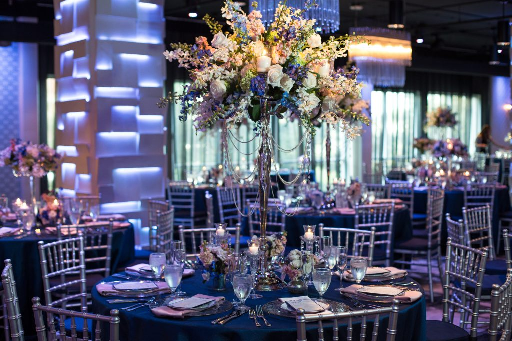 Table Flower Centerpieces Raining Roses | Blue & White Glamorous Wedding The Abbey The Mezz Anna Christine Events Kathy Thomas Photography