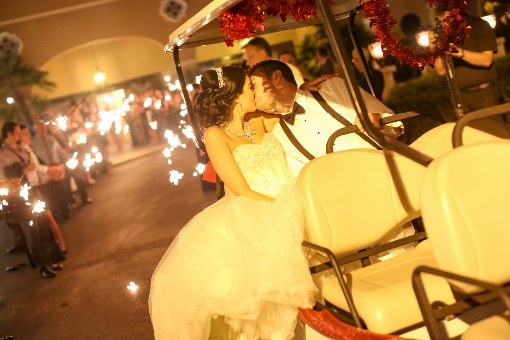 Bride & Groom Exit Golf Cart Sparkler | Red & Black Wedding Classic Romantic Dark Mission Inn Resort Anna Christine Events Wings of Glory Photography
