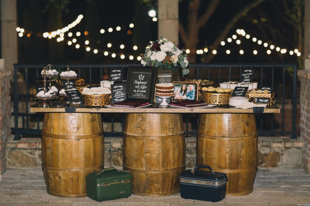 Desserts on Barrels Table | Boho Chic Rustic Nature Bella Collina Wedding Anna Christine Events Black & Hue Photography
