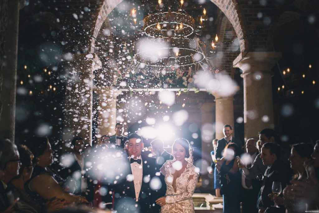 Reception Bride & Groom Grand Exit Bella Collina Bubble Snow | Boho Chic Rustic Nature Bella Collina Wedding Anna Christine Events Black & Hue Photography