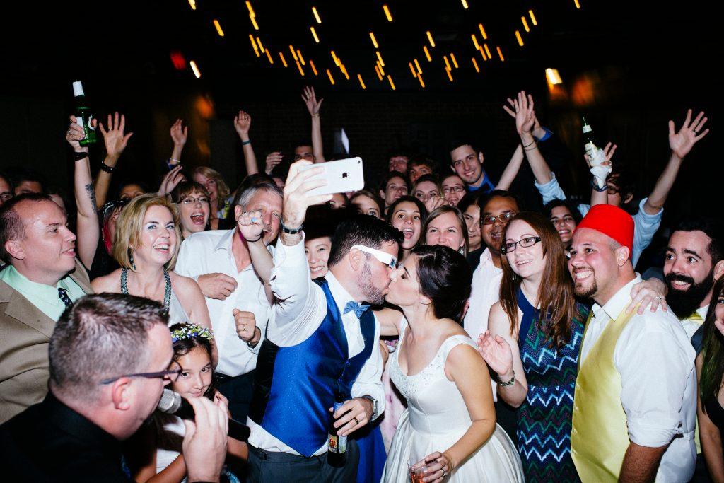 Selfie Bride & Groom Dance Floor Reception | Fun Doctor Who British Wedding Pop Culture Geek Anna Christine Events Winter Park Farmers Market Orlando