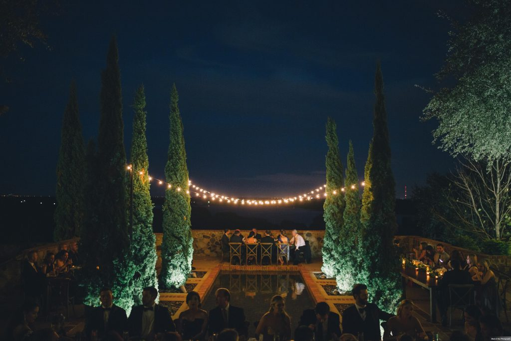 Outdoor Reception Courtyard Dinner Market Lighting Hedges Bella Collina | Boho Chic Rustic Nature Bella Collina Wedding Anna Christine Events Black & Hue Photography