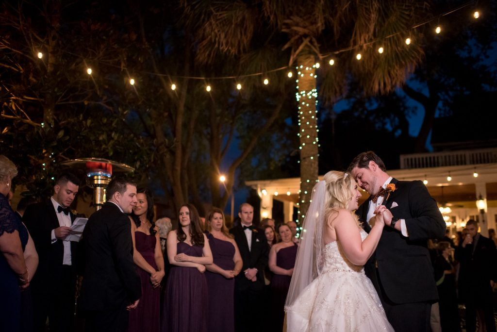 Bride & Groom First Dance | The Courtyard at Lake Lucerne Classic Purple & Orange Wedding Football Texas Longhorns Sports Lake Lucerne Courtyard Anna Christine Events Orlando Kathy Thomas Photography
